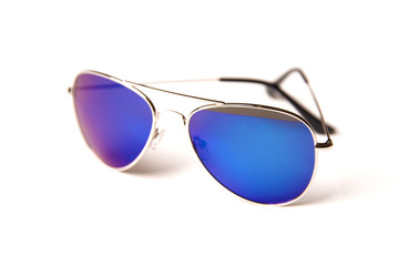 Stylish sunglasses with blue glasses isolated on a white background