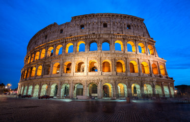 Colosseum in Rome, Italy at Night
