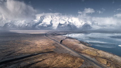Beautiful aerial views of the snow-capped mountains in Iceland.