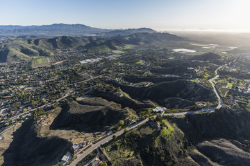 Afternoon aerial view of Santa Rosa Valley homes and hillsides in scenic Camarillo California.