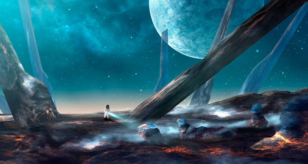 Space scene. Astronaut on lava land with big spike. Blue nebula with planet. Elements furnished by NASA. 3D rendering