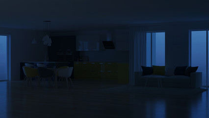 Modern house interior with yellow kitchen. . Night. Evening lighting. 3D rendering.