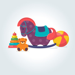 Children's toys. Ball, teddy bear, rocking horse and pyramid toy on gray background. Vector illustration