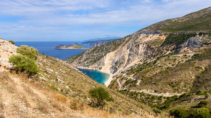 Mountain landscape of Cephalonia Island with Ionian Sea in background. Greece