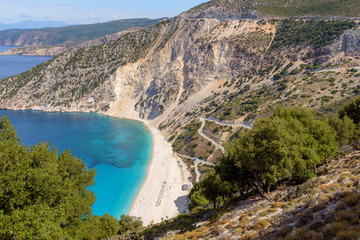 View of beautiful Myrtos beach on Cephalonia island. One of the best beaches in Greece.