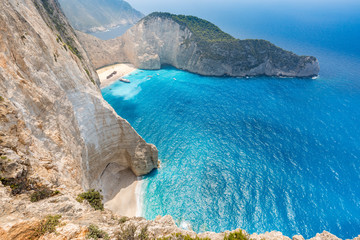 Idyllic view of beautiful Navagio Beach on Zakynthos Island in Greece