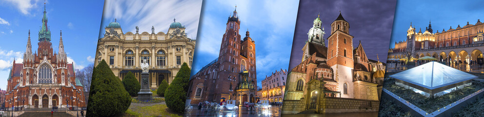 Collage of Krakow top sightseeing: St Mary's Basilica (Mariacki Church) , Wawel castle and cathedral, Cloth Hall in old town square , Juliusza Slowacki Theater , Church Joseph (Parish of St. Joseph)