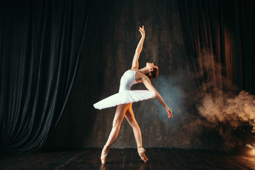 Ballerina in white dress dancing in ballet class