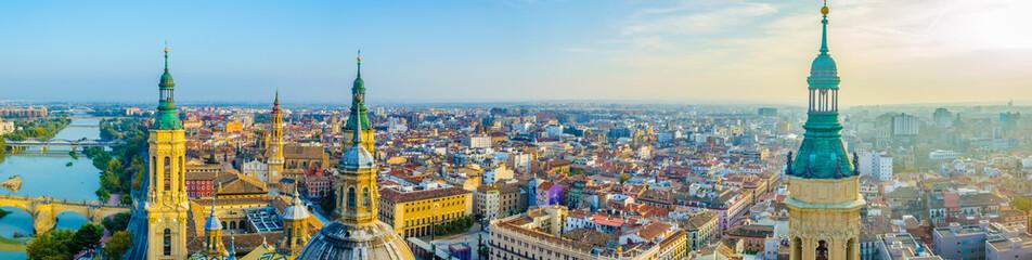 Aerial view Zaragoza dominated by the basilica de nuestra senora de pilar, Spain