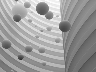 Abstract of architecture space with white sphere ball are falling from sky to the ground with light and shadow of the sun,3D render