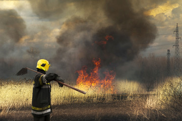 The firefighter watches  afterfire landscape