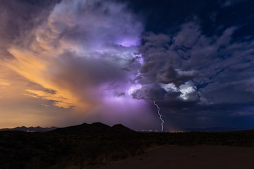 Thunderstorm and lightning bolt strike during the summer monsoon.