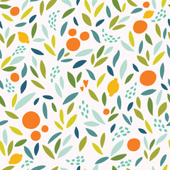 Lovely colorful vector seamless pattern with cute oranges, lemons and leaves in bright colors.