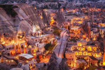 night view of Goreme, Cappadocia, Turkey. A world-famous tourist center of balloon flight