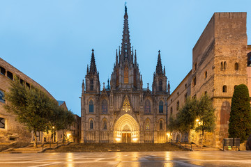 Panorama of Barcelona Cathedral of the Holy Cross and Saint Eulalia during morning blue hour, Barri Gothic Quarter in Barcelona, Catalonia, Spain.
