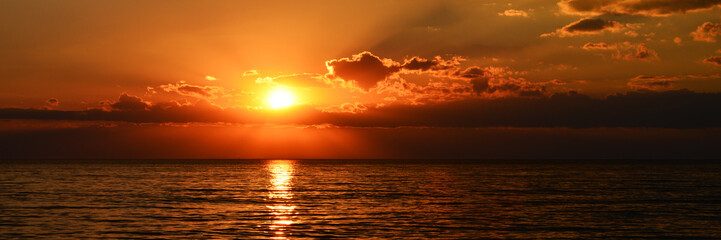 beutiful orange sunset on the calm sea