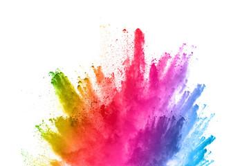 proszek streszczenie tło ikona. Kolorowy prochowy wybuch na białym tle. Barwna chmura. Wybucha kolorowy pył. Maluj Holi.