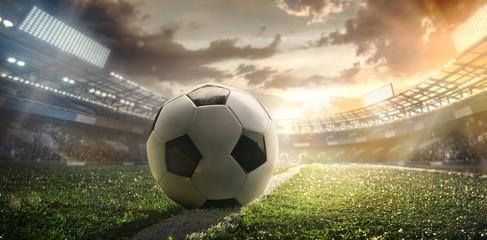 Sport. Piłka na stadionie. Plakat piłkarski.