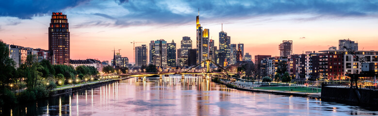 High resolution aerial panoramic view of Frankfurt, Germany after sunset.