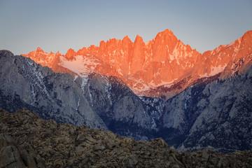 Glowing sunrise in the Eastern Sierra Mountains, California, USA.
