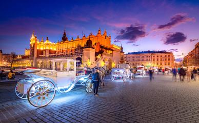 Old town market square of Krakow, Poland.