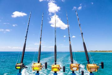 Row of Deep Sea Fishing Rods on Boat