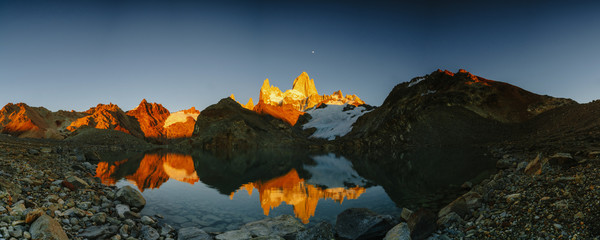 View of Mount Fitz Roy and the lake in the National Park Los Glaciares National Park at sunrise. Autumn in Patagonia, the Argentine side