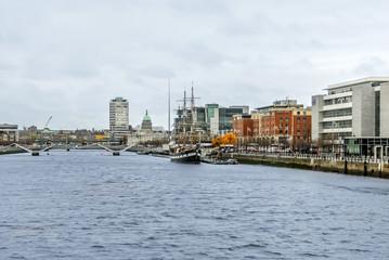 Dublin, Ireland, 24 October 2012: Buildings and River