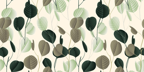 Seamless pattern, vintage green and brown silver dollar eucalyptus leaves with flowers on light brown background