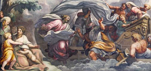 PARMA WŁOCHY, KWIECIEŃ, - 16, 2018: Fresk Peter, chodzi na wodzie w kierunku Jezus w Duomo Lattanzio Gambara (1567-1573).