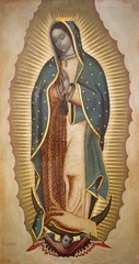BOLOGNA, ITALY - APRIL 18, 2018: The paint of Virgin Mary of Guadalupe in chruch Chiesa di San Benedetto Francisco Antonio Vallejo (1772).