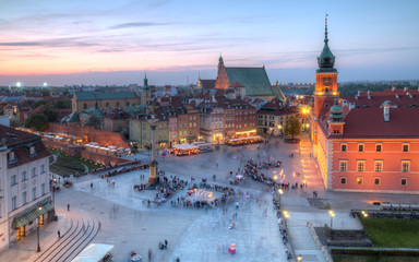 Evening panorama of the old town. Warsaw Poland.