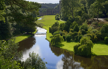 England, North Yorkshire, Ripon. Fountains Abbey, Studley Royal - UNESCO World Heritage Site. Grounds, garden buildings and trees of Water Park.
