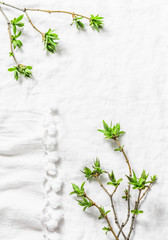 White background with fresh green leaves branches with copy space. Rustic spring frame background composition with free space for text. Top view, flat lay