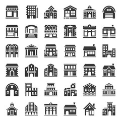 building construction, solid icon set