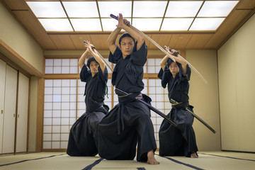 Samurai training in a traditional dojo in Tokyo