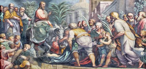 PARMA WŁOCHY, KWIECIEŃ, - 16, 2018: Fresk wejście Jezus w Jerozolima w Duomo Lattanzio Gambara (Niedziela Palmowa) (1567-1573).