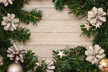 Christmas tree background with copy space, top view