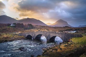 scotland old brick bridge at colorful sunset