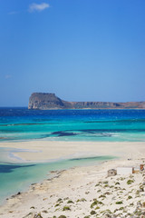 Beautiful seascape is the famous Balos beach on the island of Crete, Greece.