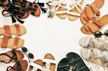 Set of various leather sandals