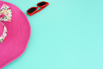 Summer hat and sunglasses for background
