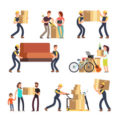 Family moving into new house. Man, woman and employees carrying boxes and heavy furniture vector characters set