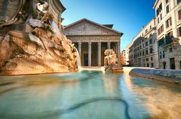 Fountain on Piazza della Rotonda with Parthenon behind, Rome, Italy