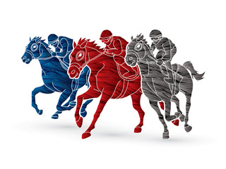 Horse racing ,Jockey riding horse, design using grunge brush graphic vector.