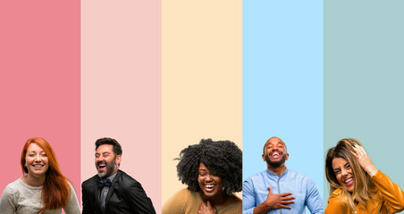 Cool group of people, woman and man confident and happy with a big natural smile laughing