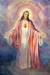 REGGIO EMILIA, WŁOCHY - 14 kwietnia 2018: Obraz Serca Jezusa Chrystusa w kościele Chiesa di San Bartolomeo z 20 procent.