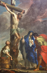 PARMA, ITALY - APRIL 16, 2018: The painting of Crucifixion in church Chiesa di San Antonio Abate by Giuseppe Peroni (1710 - 1776).