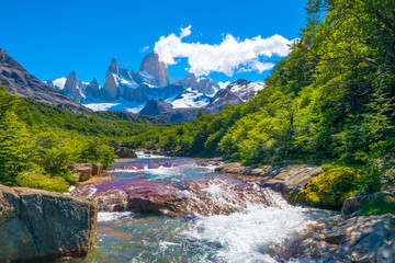 Wonderful view of Mount Fitz Roy near the Poincenot camp in Los Glaciares National Park Patagonia - El Chalten - Argentina