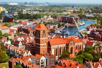 Gdansk, Poland, cityscape aerial view of the old town